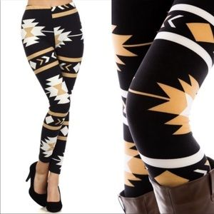 Pants - Black Aztec print leggings